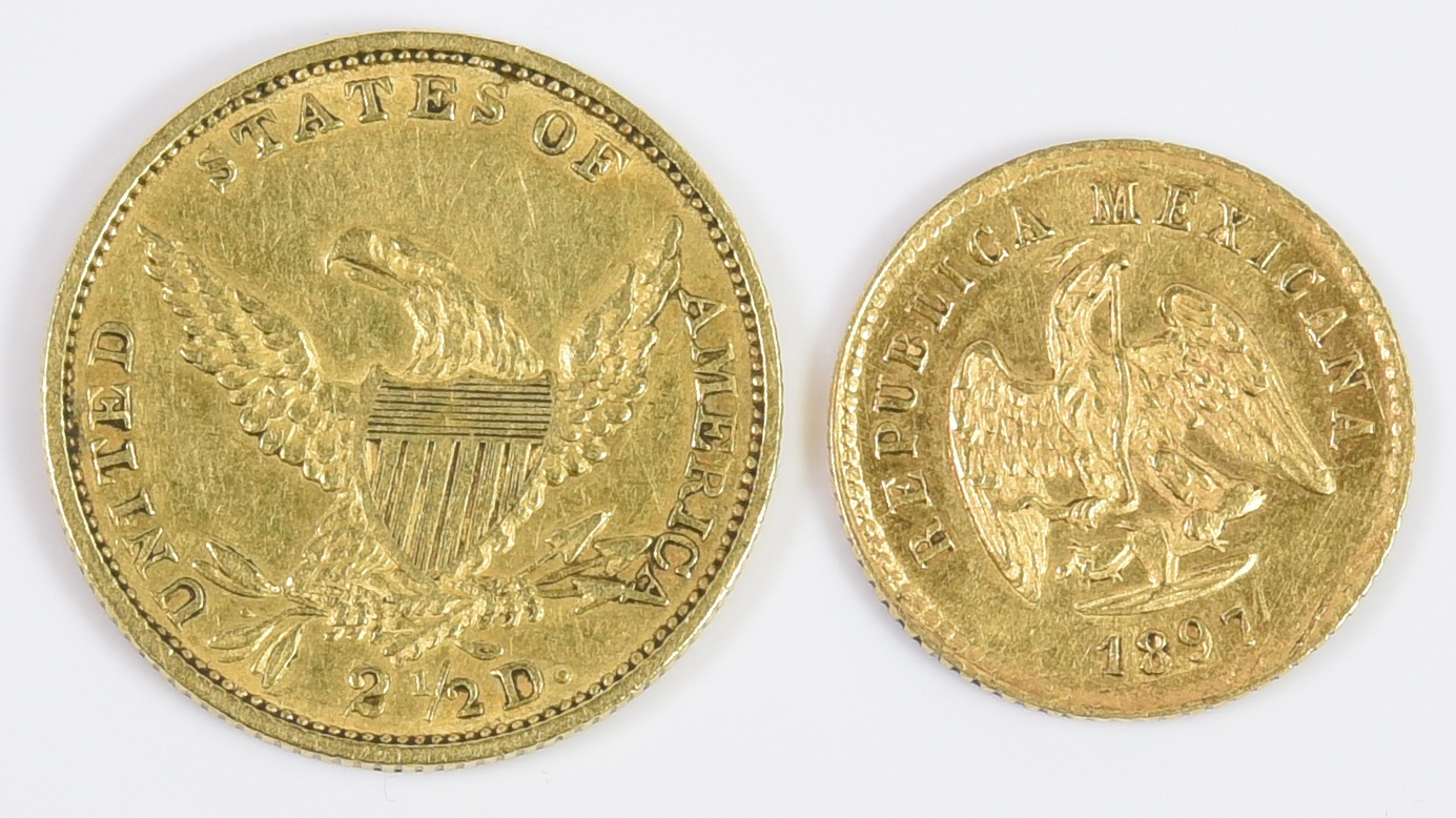 Lot 985: 1897 Gold Peso & 1834 US $2 1/2 Gold Coin