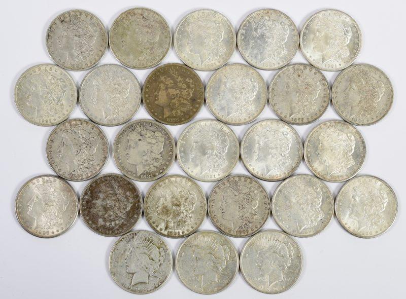 Lot 986: 22 Morgan Silver Dollars & 3 Peace Dollars