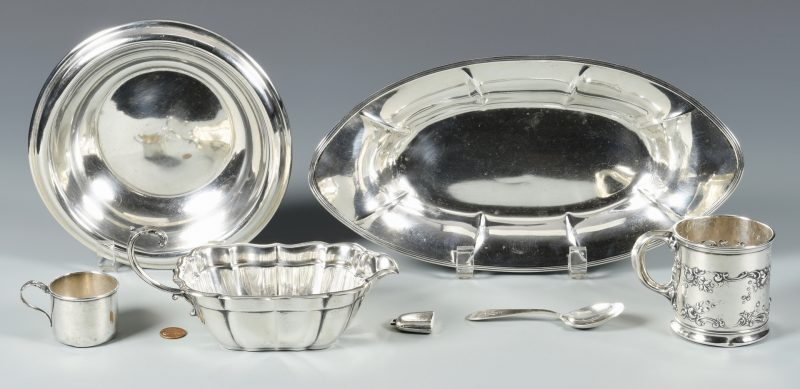 Lot 989: 7 pcs Sterling Silver inc. table, baby items