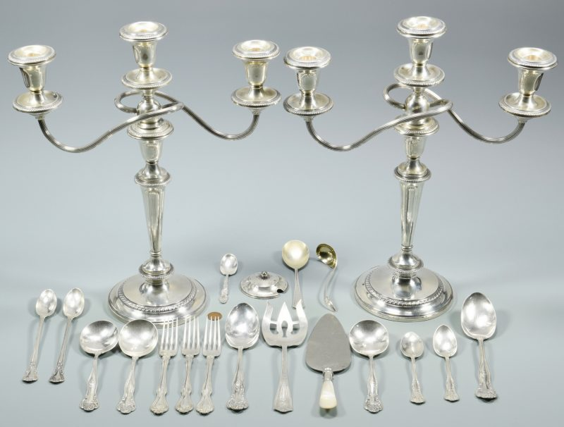 Lot 995: Sterling Flatware & Candelabra, 20 items