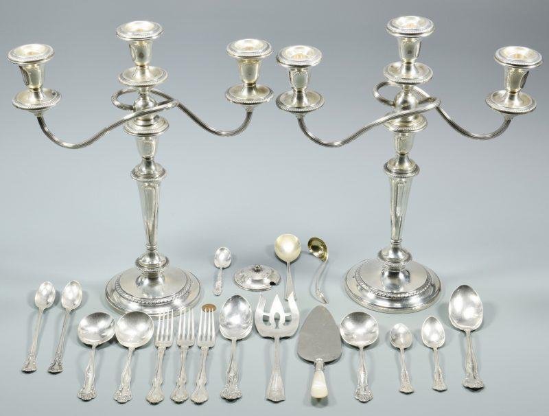 Lot 995: Sterling Flatware & Candelabra, 20 items