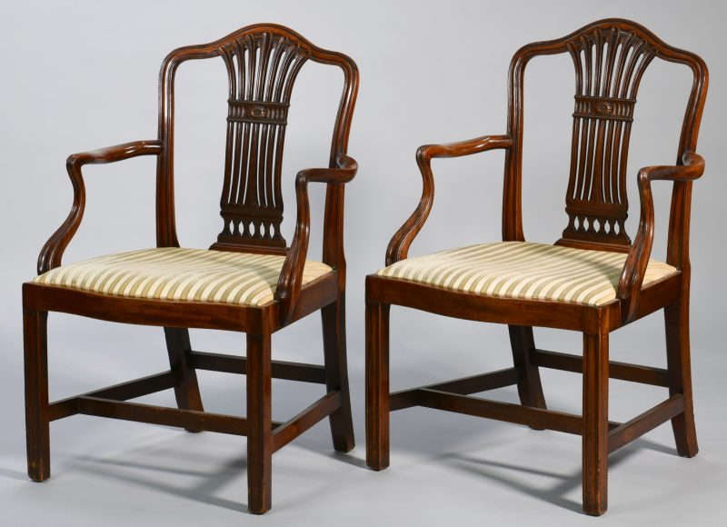 Lot 99: Pr George III Mahogany Armchairs