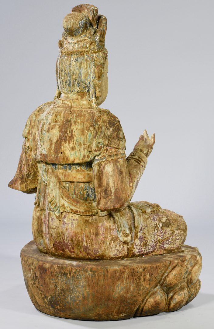 "Lot 9: Large Carved Quan Yin Figure, 41""H"