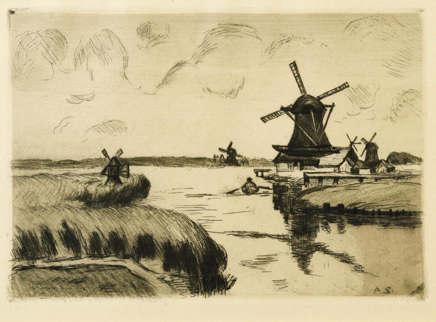 Lot 102: 3 European prints incl. Buhot, Haden