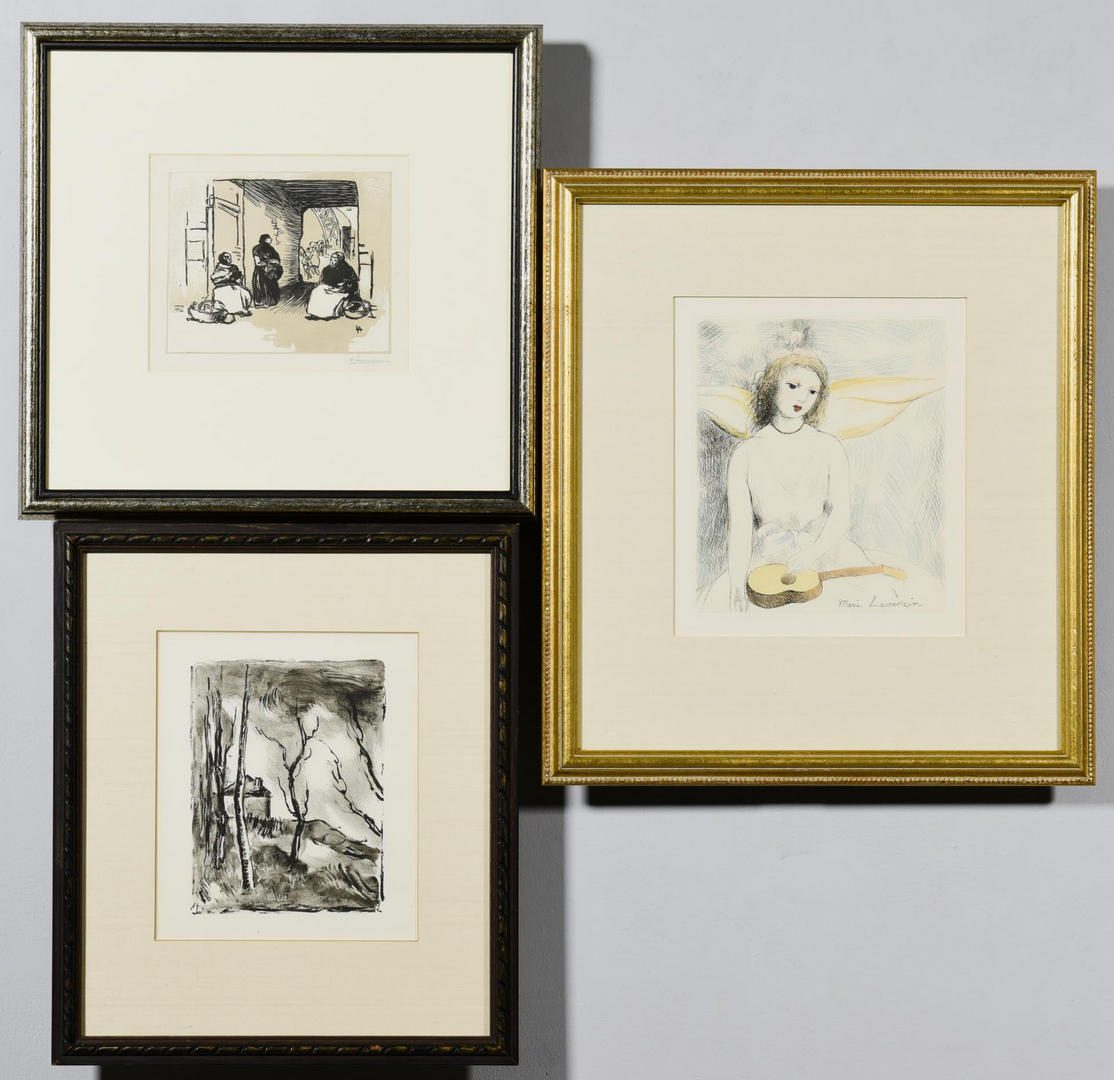 Lot 104: Three (3) prints, Vlaminck, Lepere, and Laurencin
