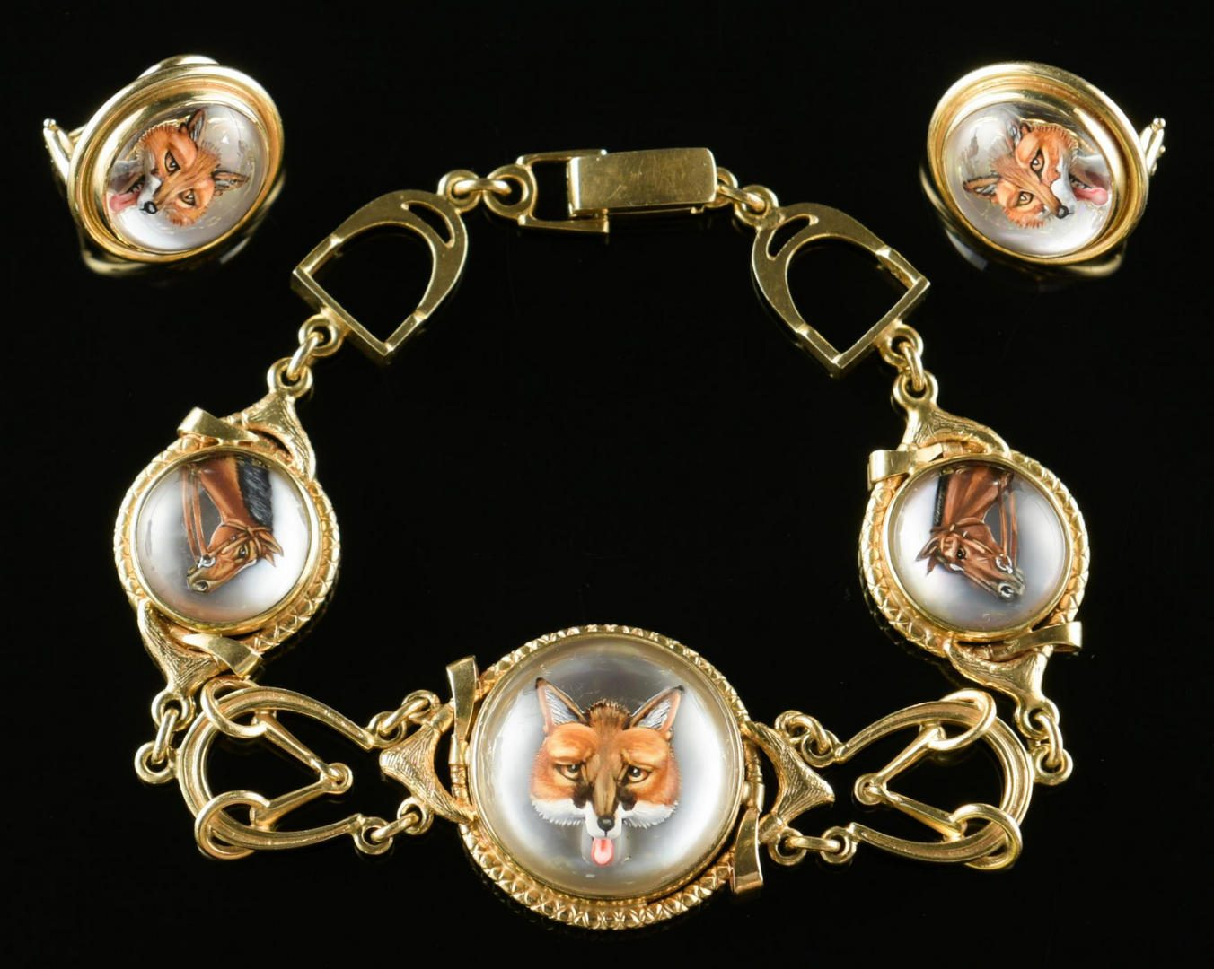 Lot 10: Set 14K  Essex Crystal Equestrian Jewelry