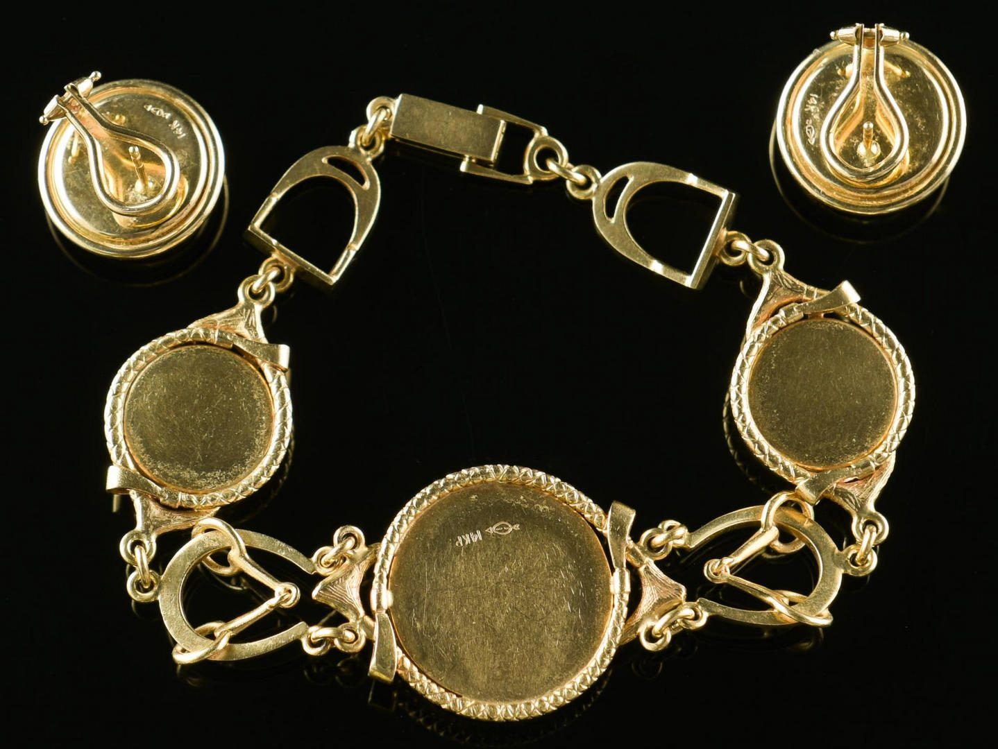 Lot 10: Set 14K  Essex Crystal Equestrian Jewelry