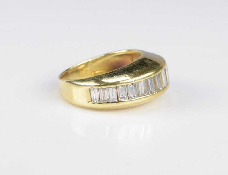 Lot 12: 18K Diamond Baguette Dome Ring