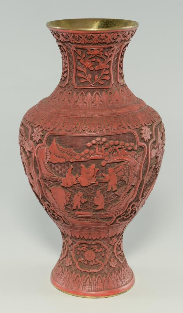 Lot 131: Large Chinese Cinnabar Vase