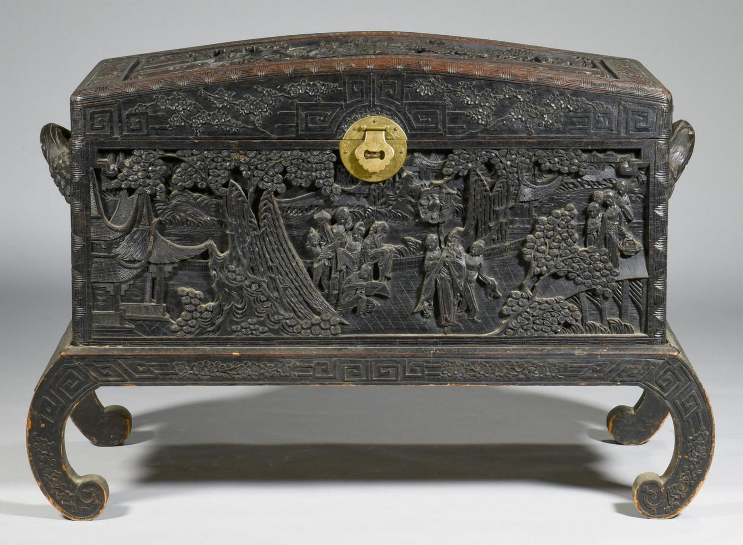 Lot 143: Chinese Carved Box on Stand with Relief