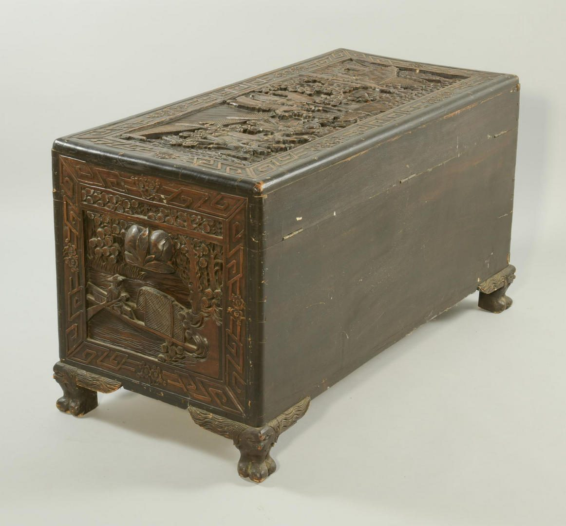 Lot 144: Chinese Carved Camphor Chest w/ Hong Kong stamp
