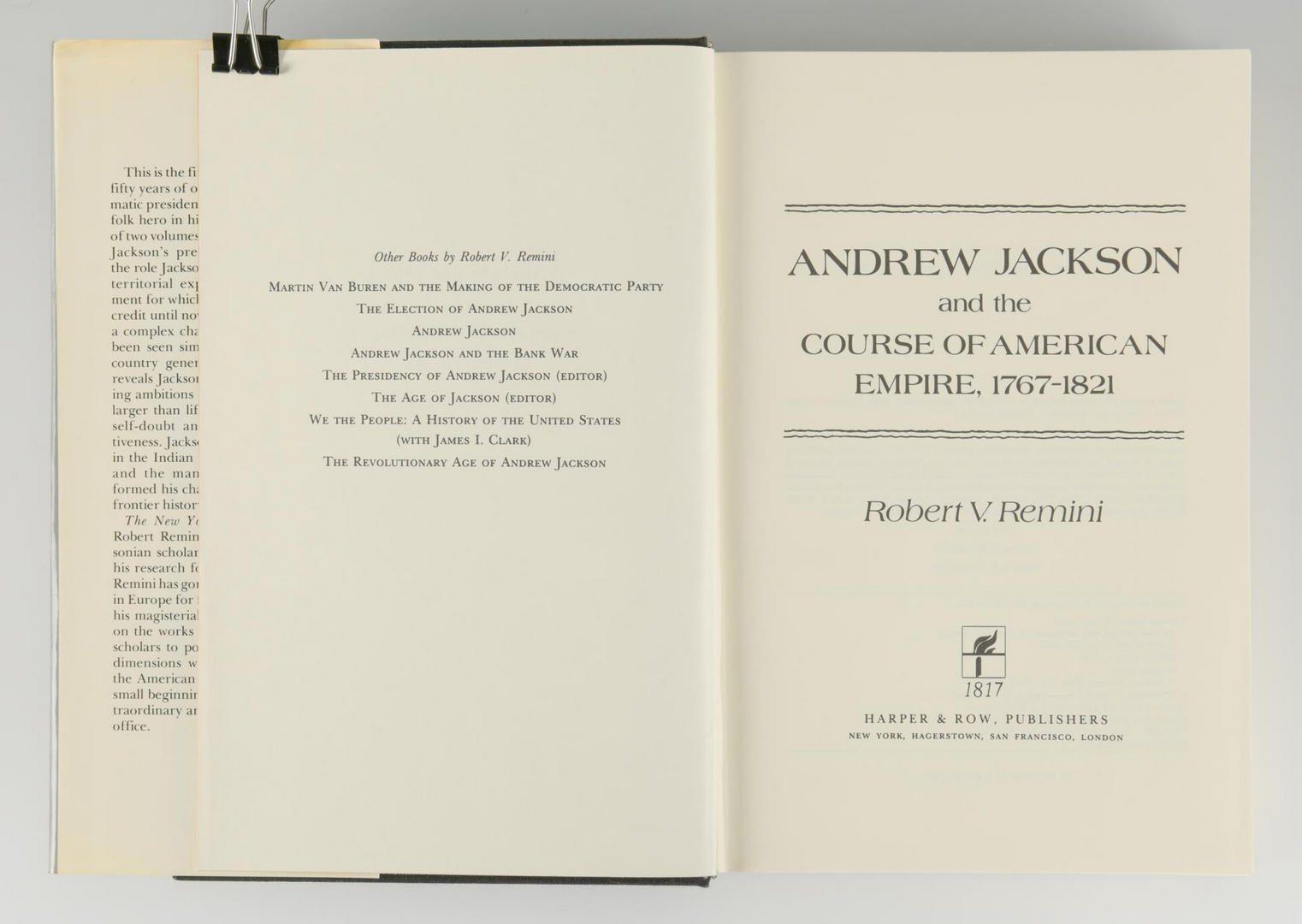 Lot 157: Remini, Andrew Jackson Bio 3 vols, Signed