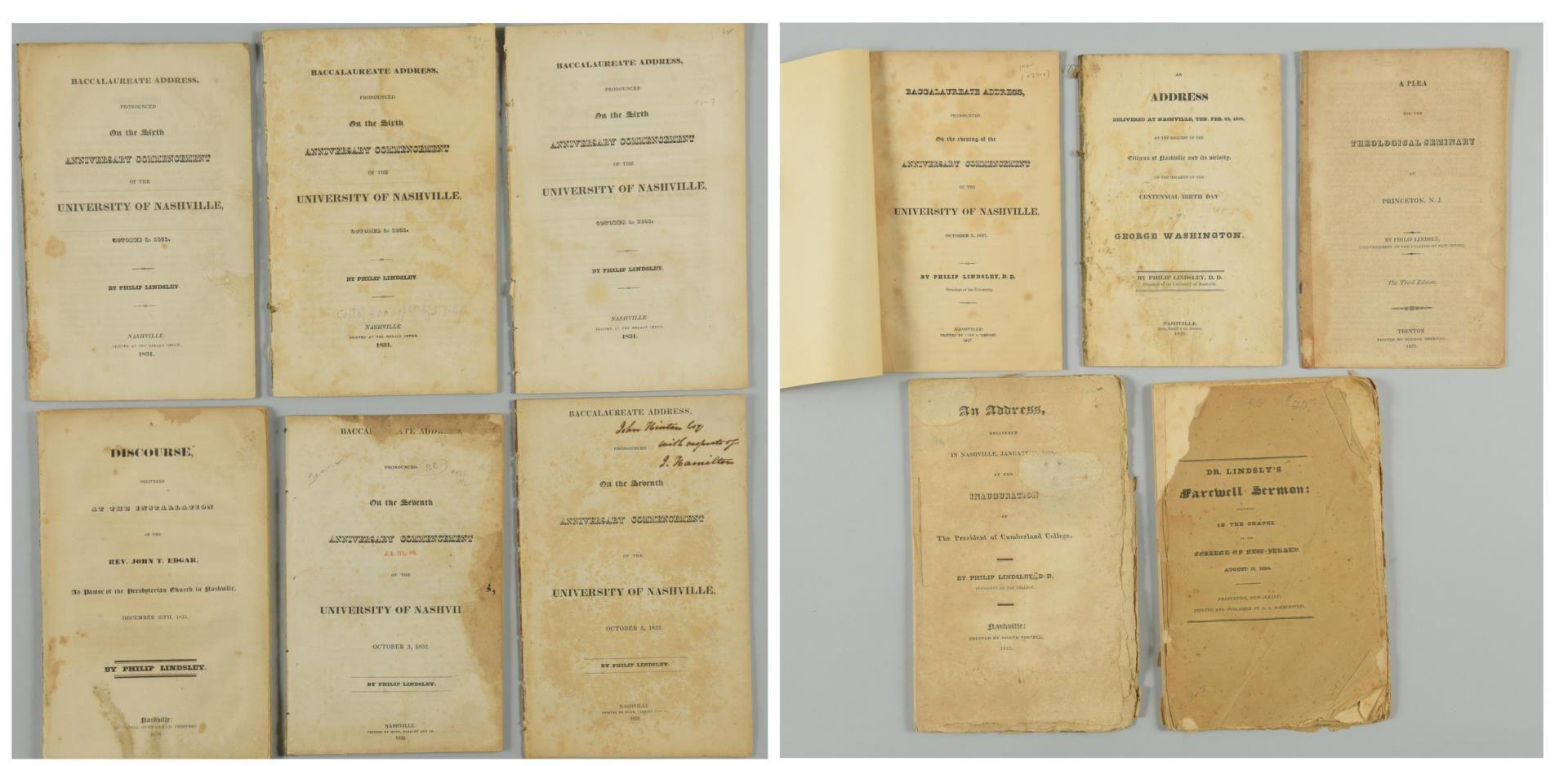 Lot 158: 11 TN /NJ Philip Lindsley items, 9 Nashville imprints