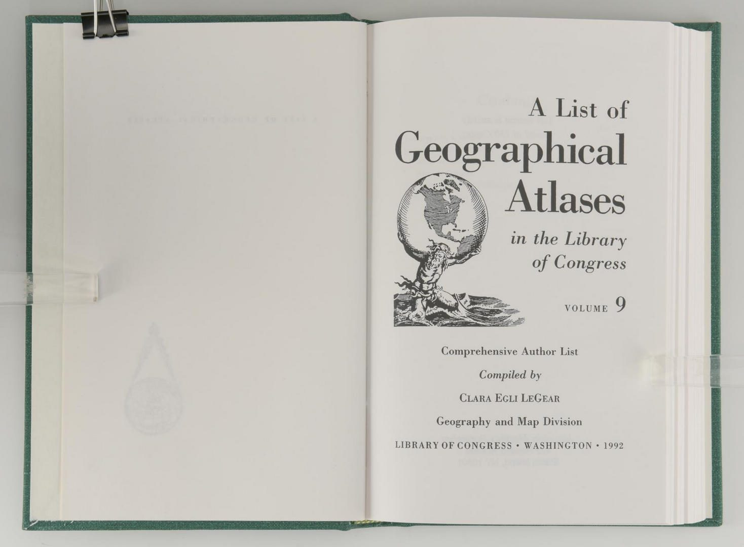 Lot 173: List of Atlases Library of Congress, 9 Vols.