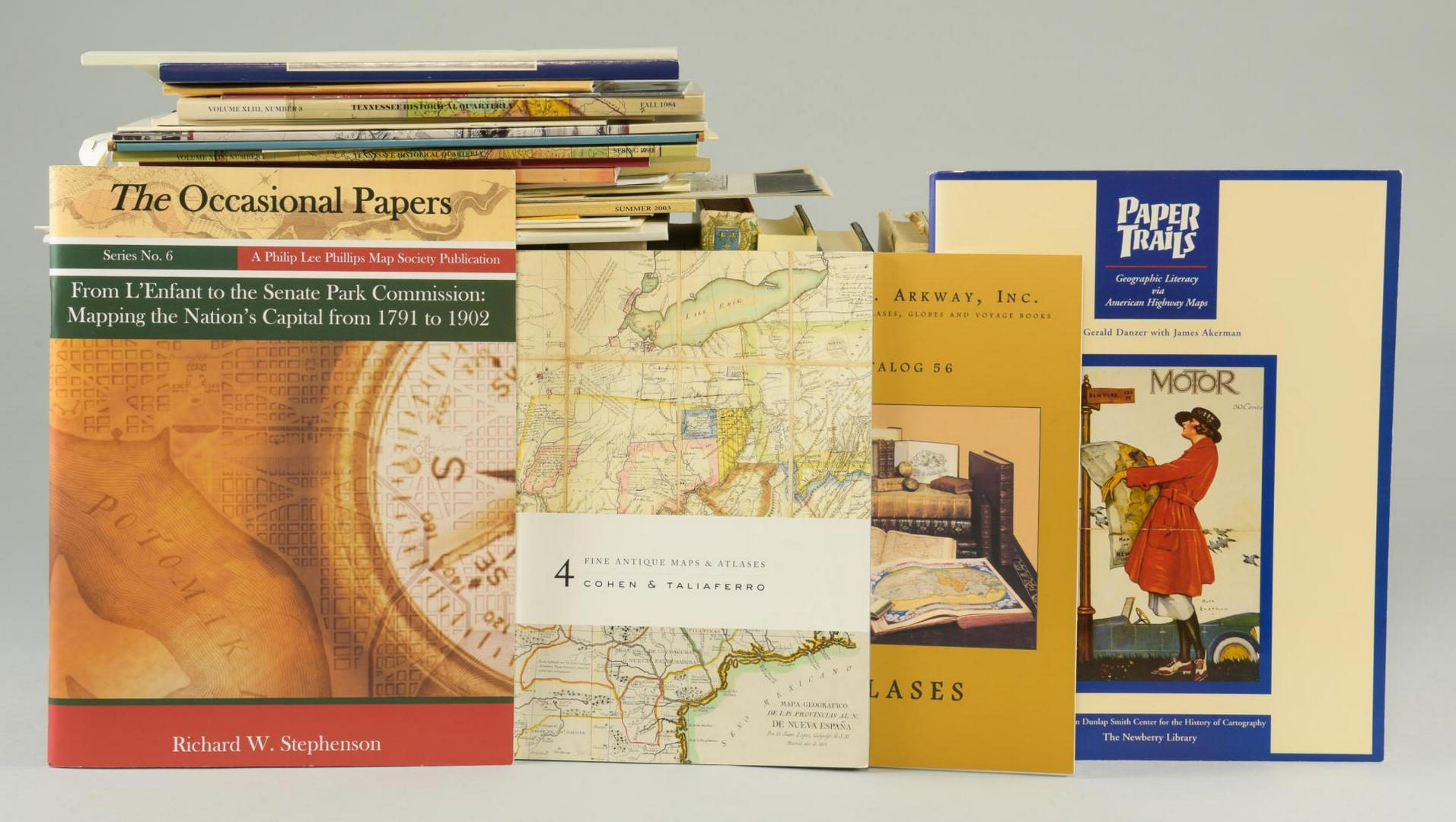 Lot 176: Map reference book lot #3: General Lot of reference books. 38 books plus approx. 33 catalogs, Historical quarterlies and offprints.