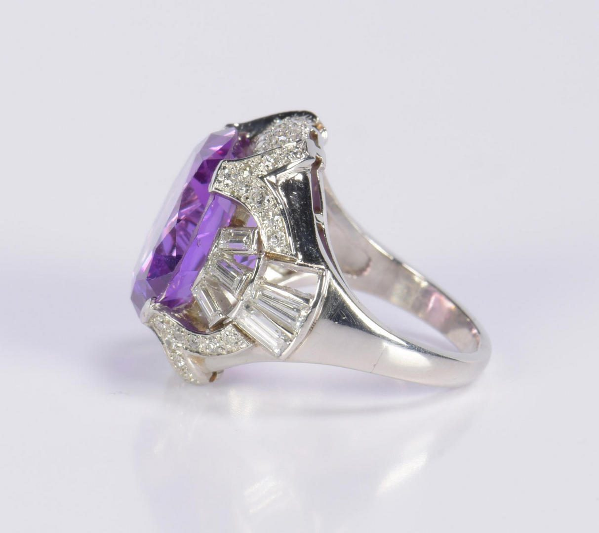 Lot 17: Vintage Platinum and Dia Ring Mounting w/ purple stone