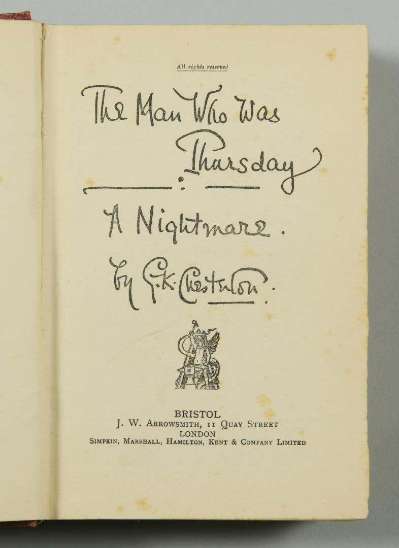 "Lot 181: Chesterton: 1st Edition of ""The Man Who Was Thursday: A Nightmare"""