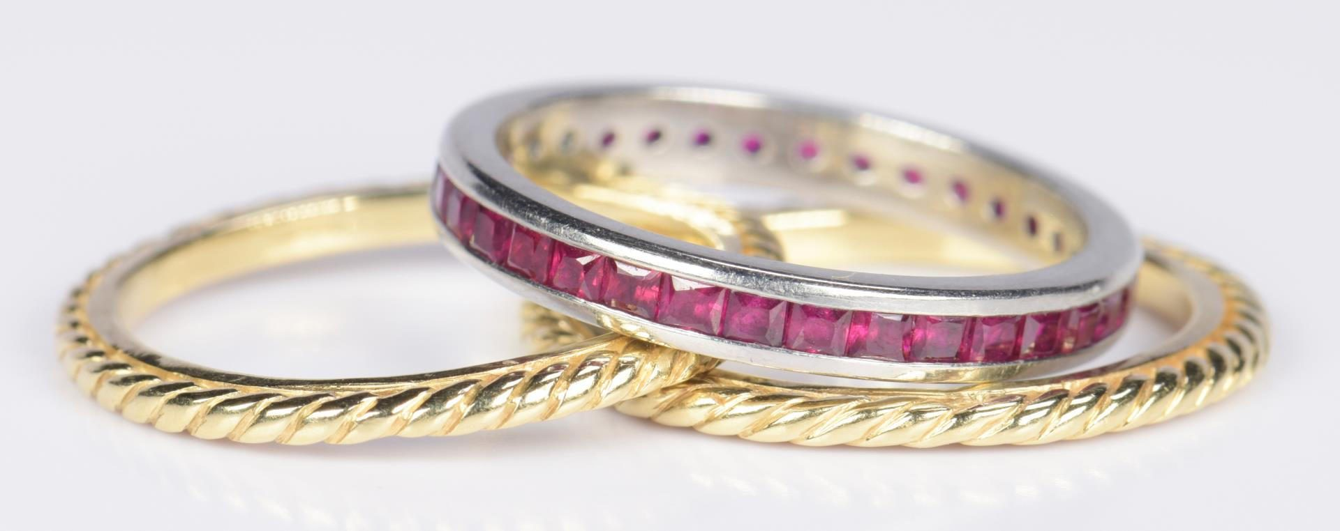 Lot 18: Ruby Eternity Ring & Pr. 18K Bands