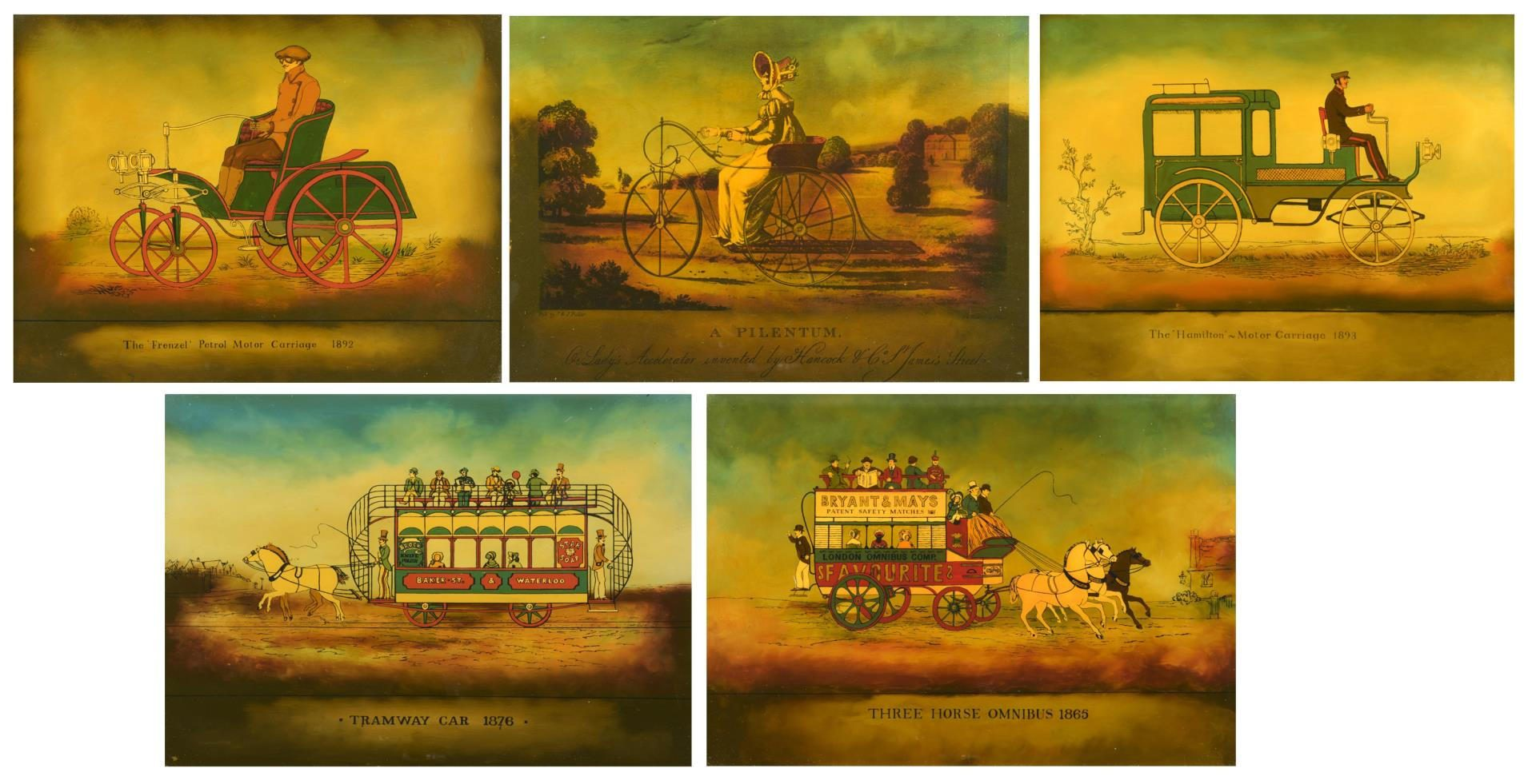 Lot 193: 5 Reverse Paintings on Glass