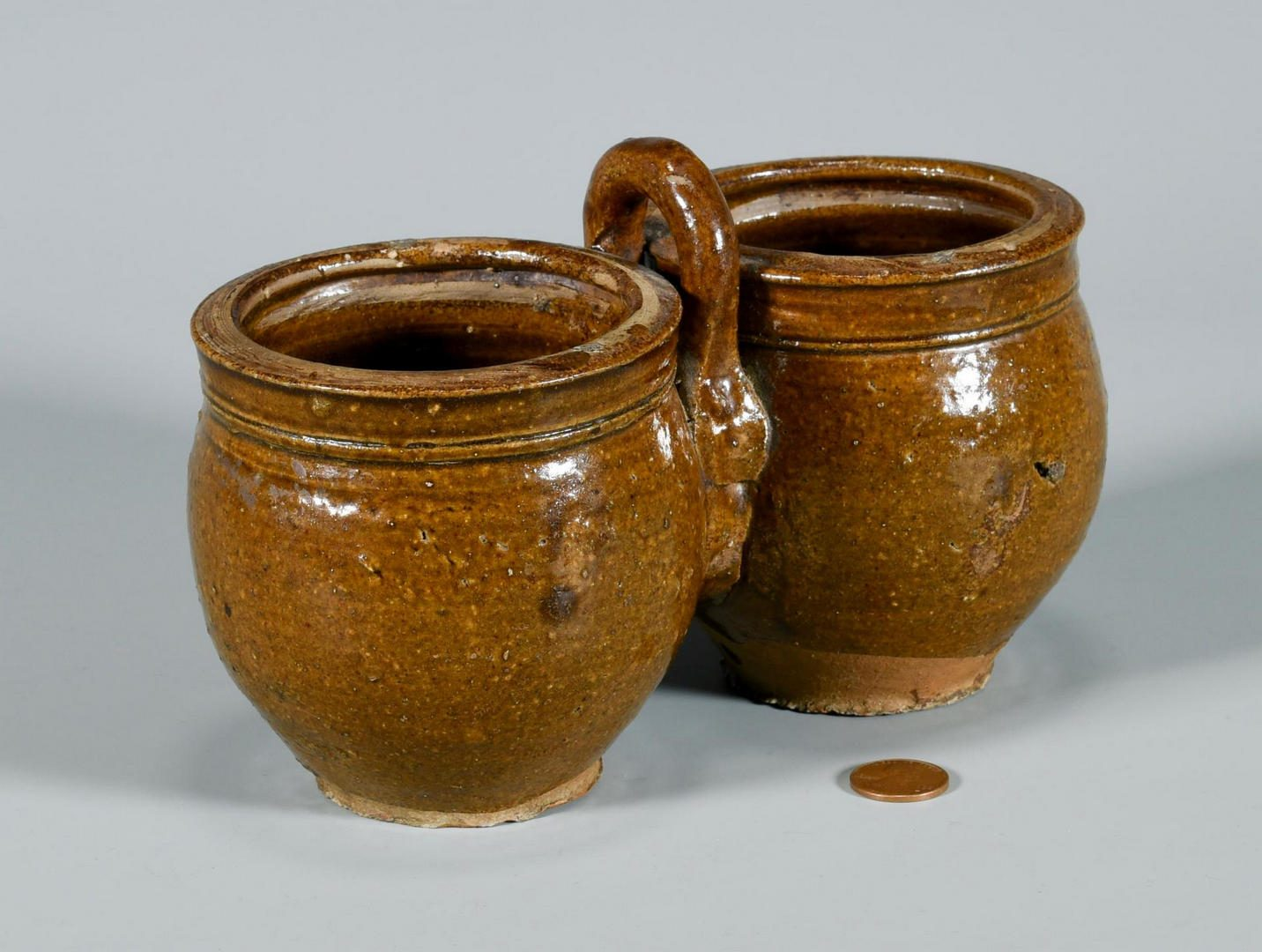Lot 195: American Redware Double Jar w/ Handle