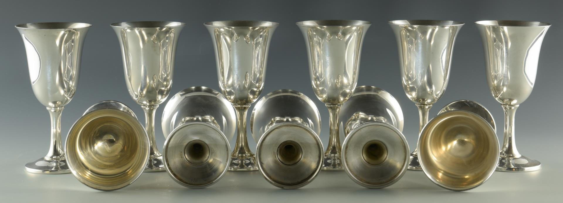 Lot 1: 12 Wallace Sterling Silver Goblets
