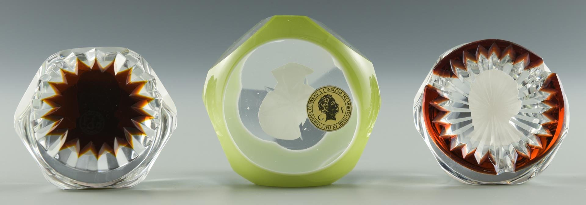 Lot 205: 3 Cameo Paperweights, Incl. Baccarat