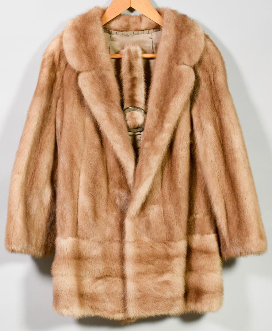 Lot 208: Mink Fur Short Jacket with Belt, Honey Color