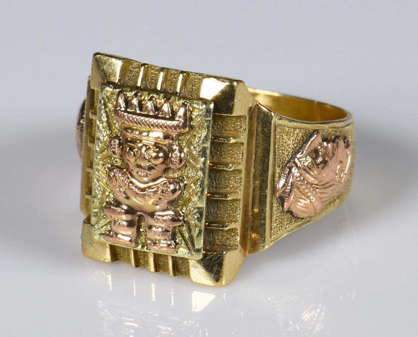Lot 211: 18K Gents Tri-color Aztec style Ring