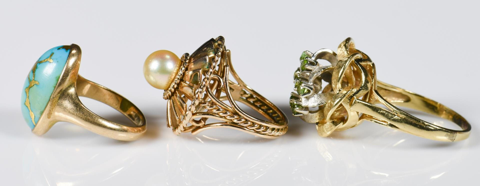 Lot 213: 3 14K and 10K Vintage Ladies Rings