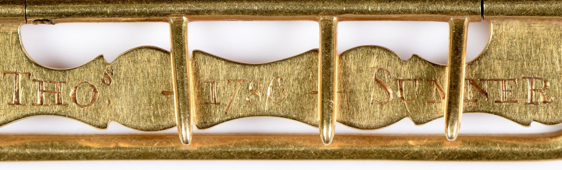 Lot 215: 18th c. gold buckle, 18K, plus stickpin