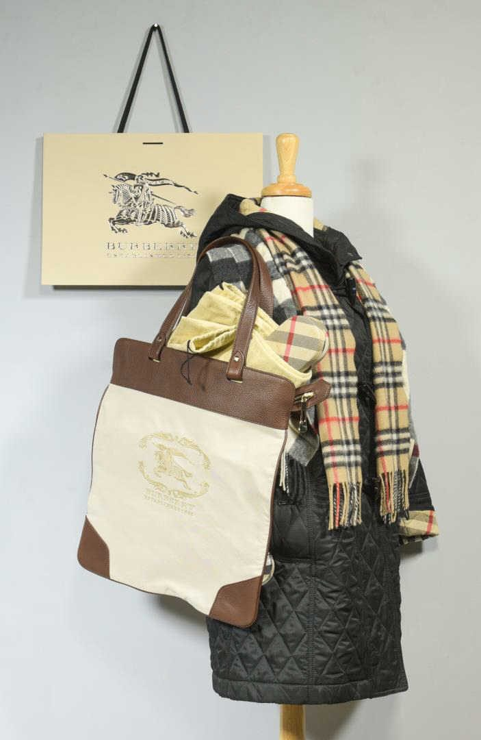 Lot 21: Burberry Hooded Coat, Tote, Umbrella & Scarves