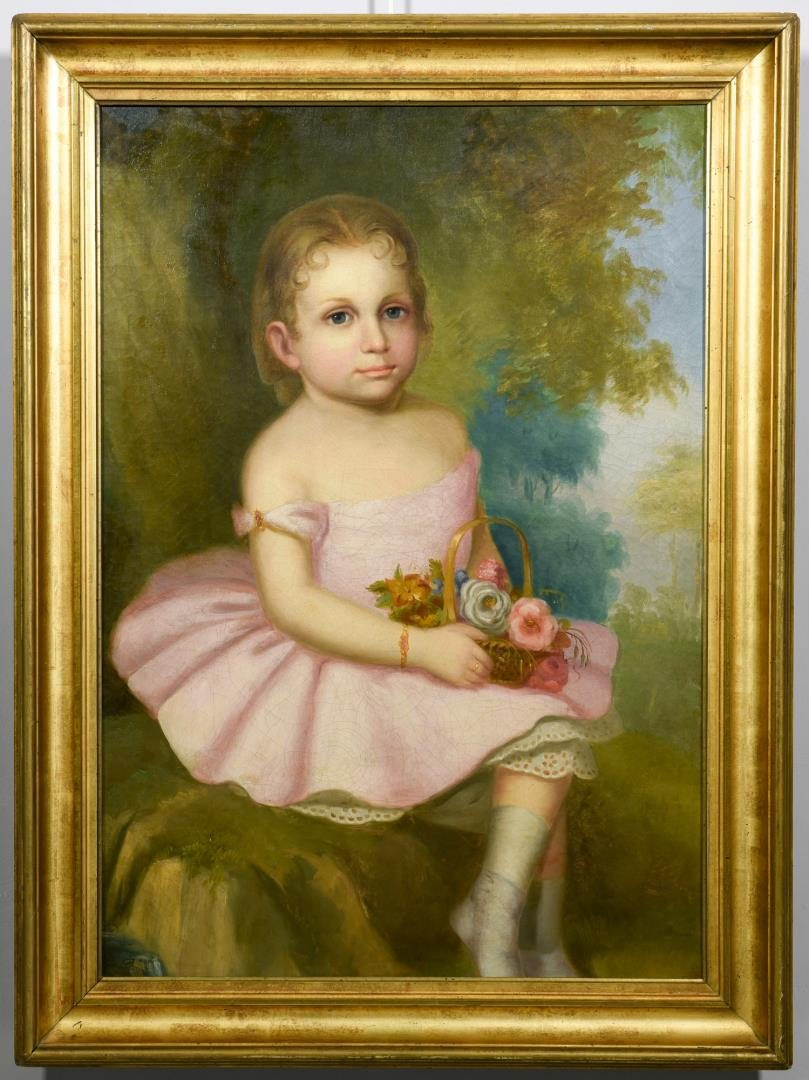 Lot 236: 19th c. Am. Portrait Young Girl