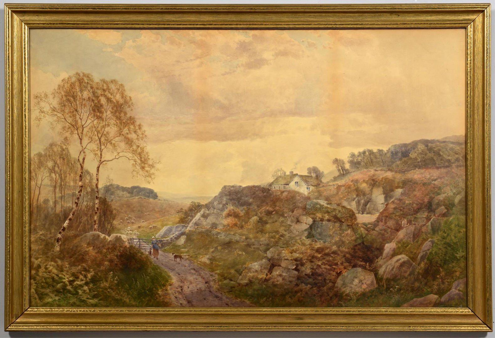 Lot 238: Frank Gresley Watercolor Landscape
