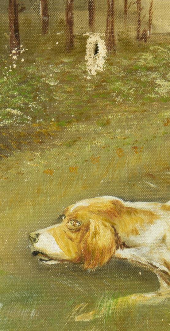 Lot 239: A.E. Weber, O/C, Hunting Dogs