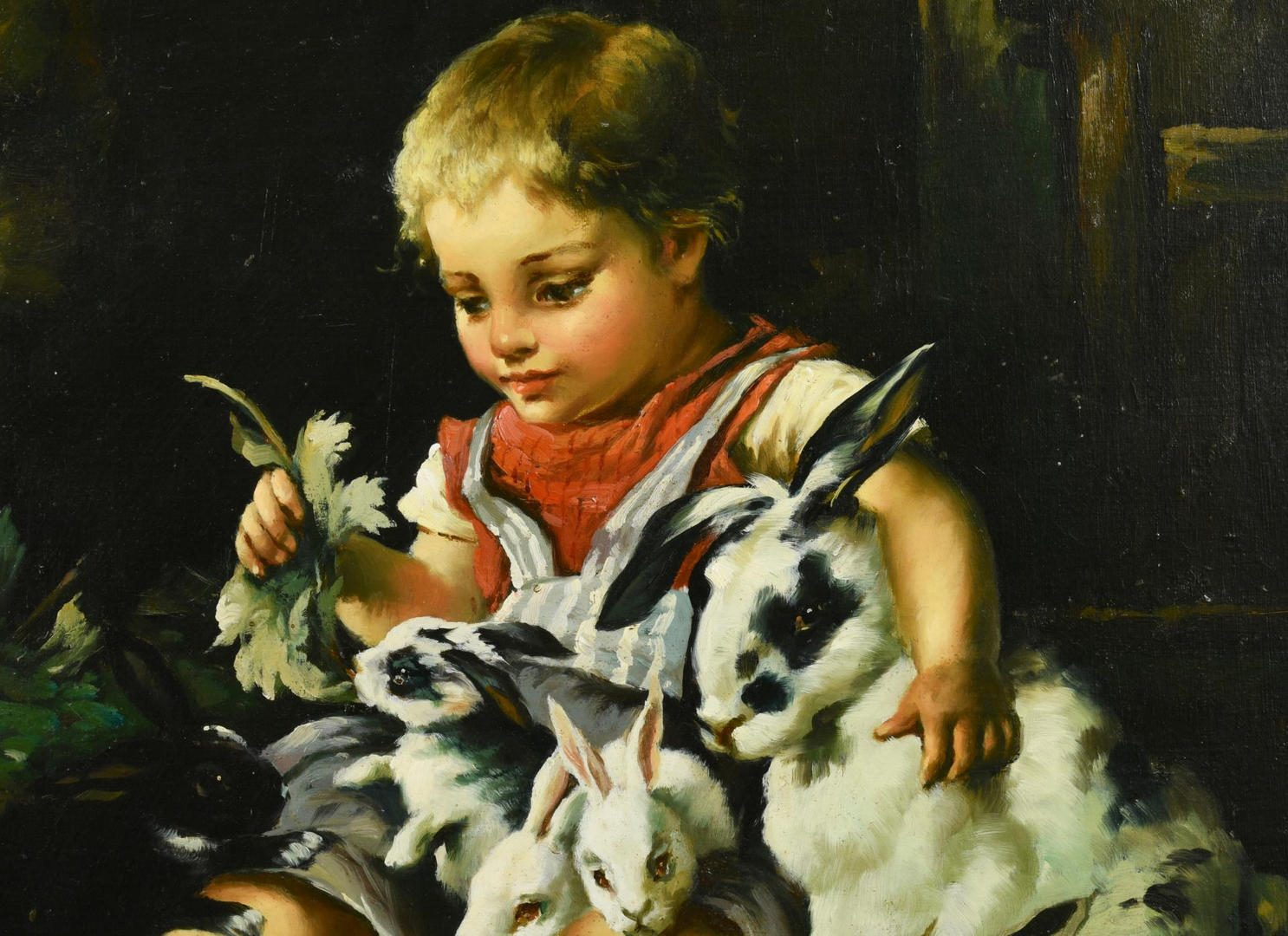 Lot 240: O/C of Child and Rabbits