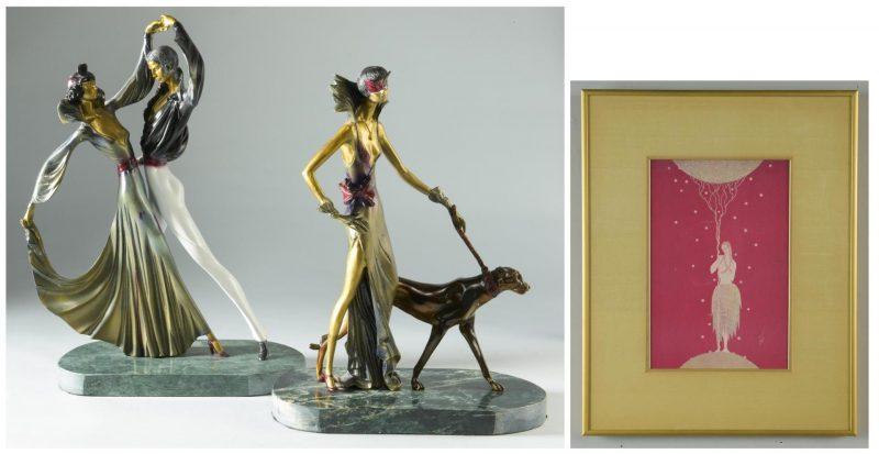 Lot 242: 2 Bronzes & Print after Erte