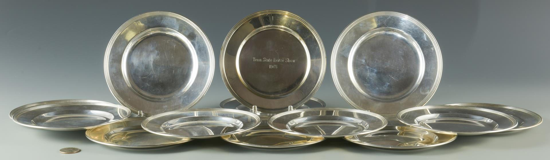 Lot 2: 12 Sterling Bread Plates plus 1 trophy plate