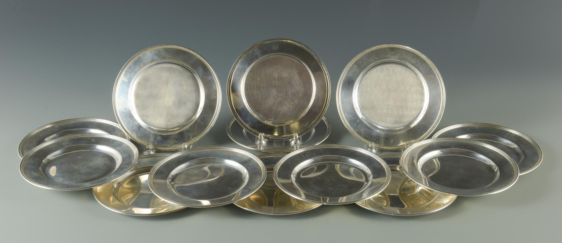 Lot 2: 12 Sterling Bread Plates plus 1 trophy plate