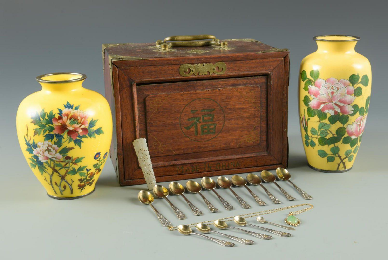 Lot 30: White Jade Brooch, Green Jade Pendant & Asian items