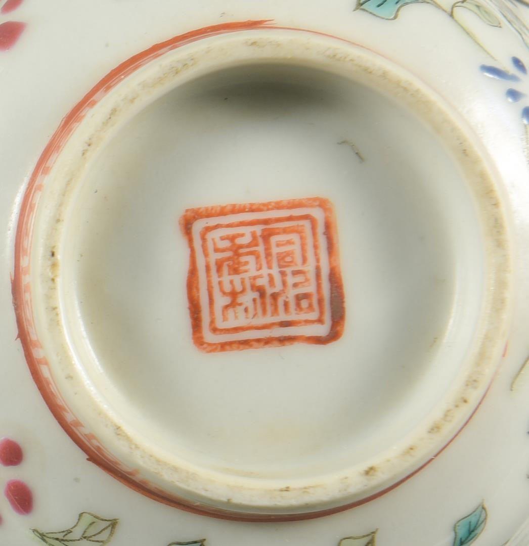 Lot 31: Asian Silver and Porcelain bowls, 3 pcs