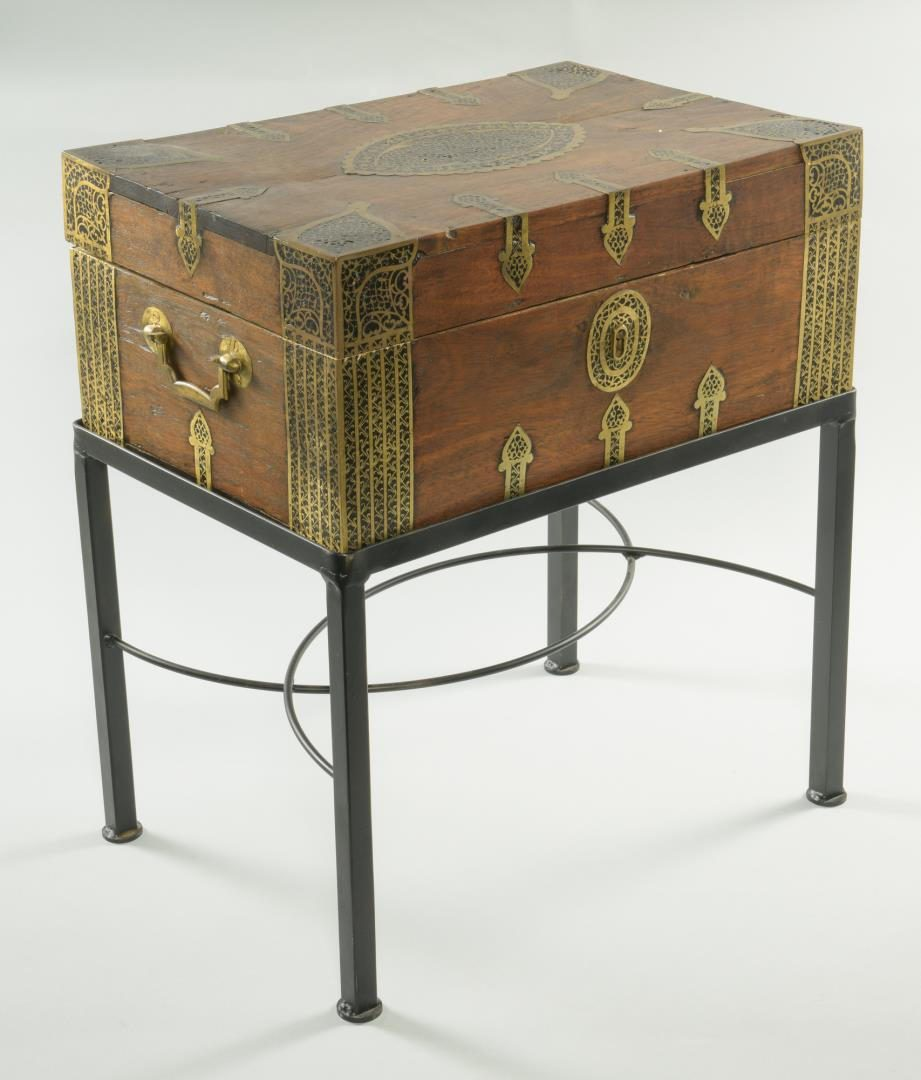 Lot 38: Asian Brass Clad Lap Desk and Stand