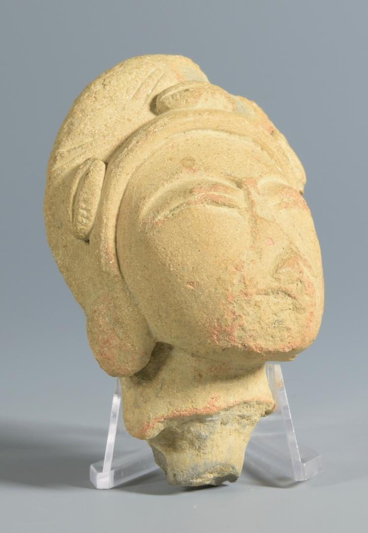Lot 41: Carved Stone Head plus Jade Beads