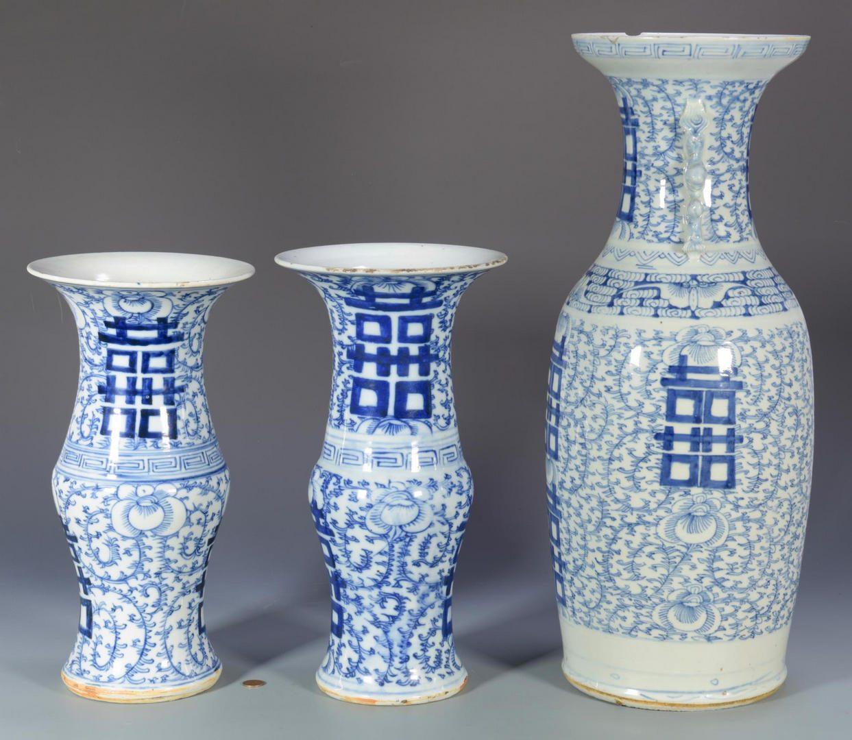 Lot 46: 3 Asian Blue/White Vases