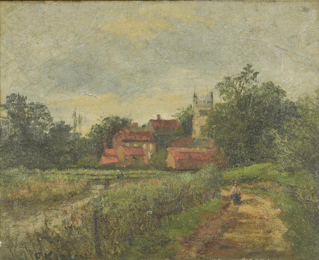 Lot 52: O/C English Landscape, poss. Franz Kidson
