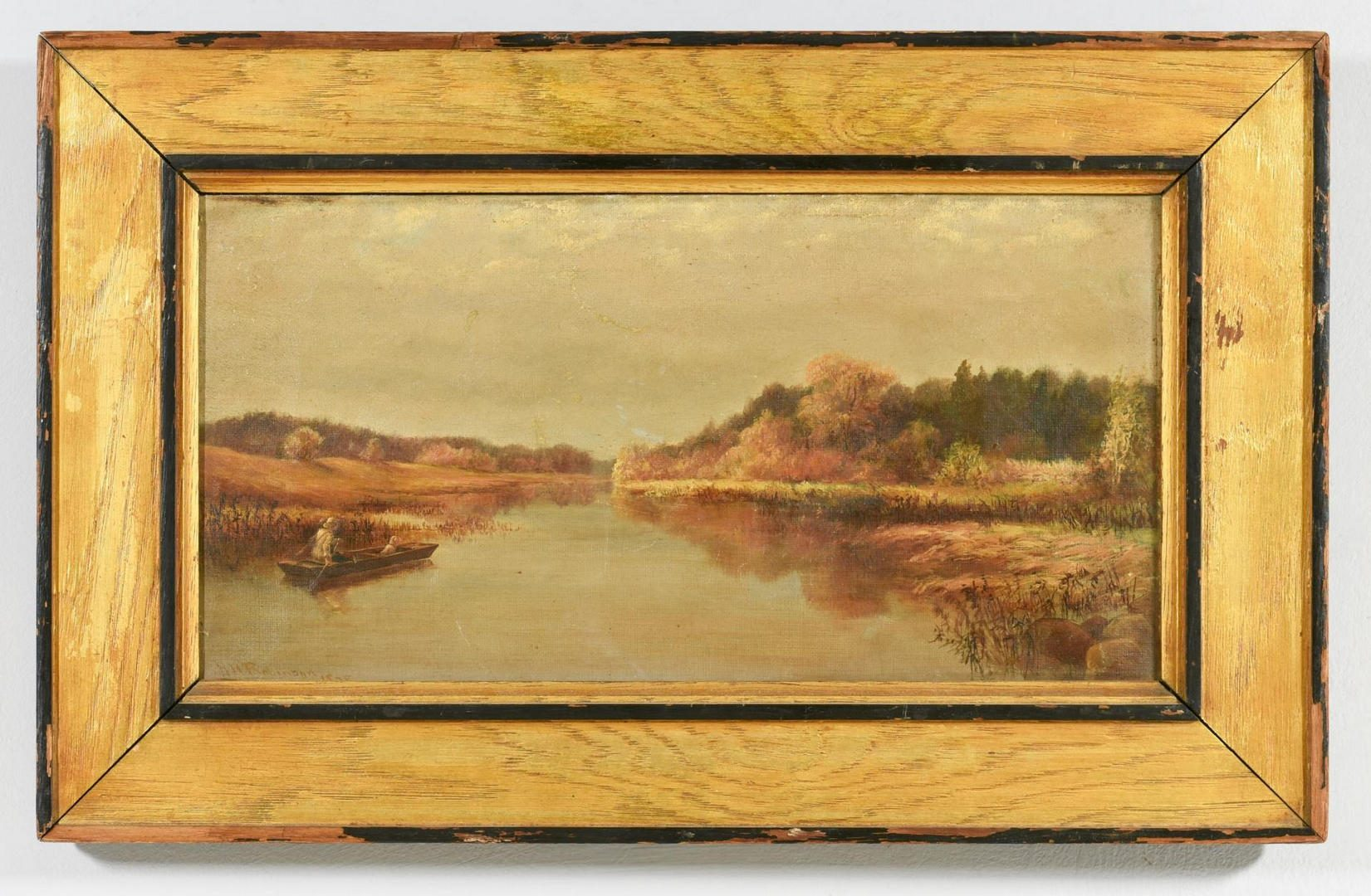 Lot 55: H.Robinson o/c sporting landscape, dog and man in boat