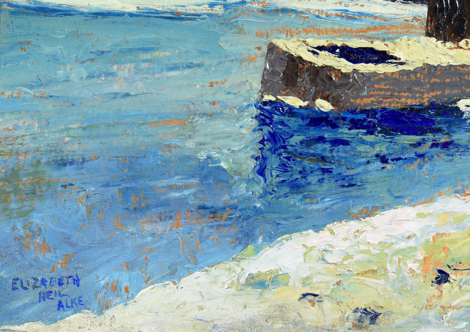 Lot 56: Elizabeth Alke Oil on Board Lake Scene