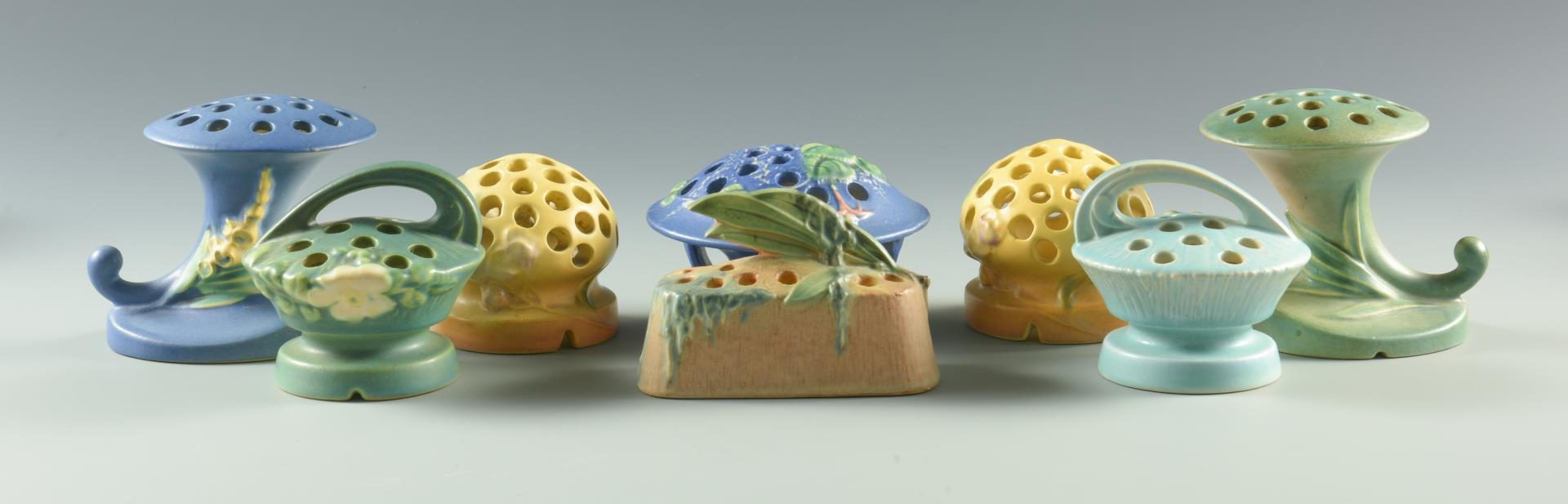 Lot 65: Grouping of 18 Art Pottery Flower Frogs
