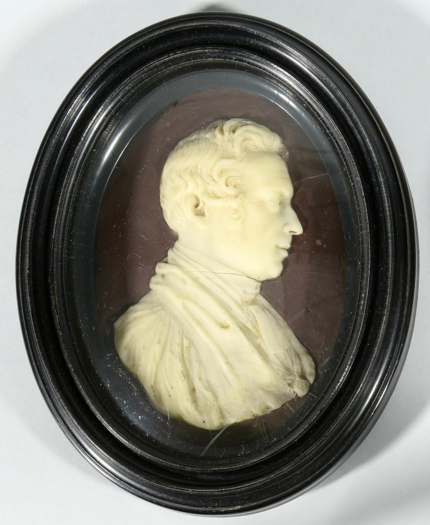 Lot 69: Pr. 19th c. Wax Portraits