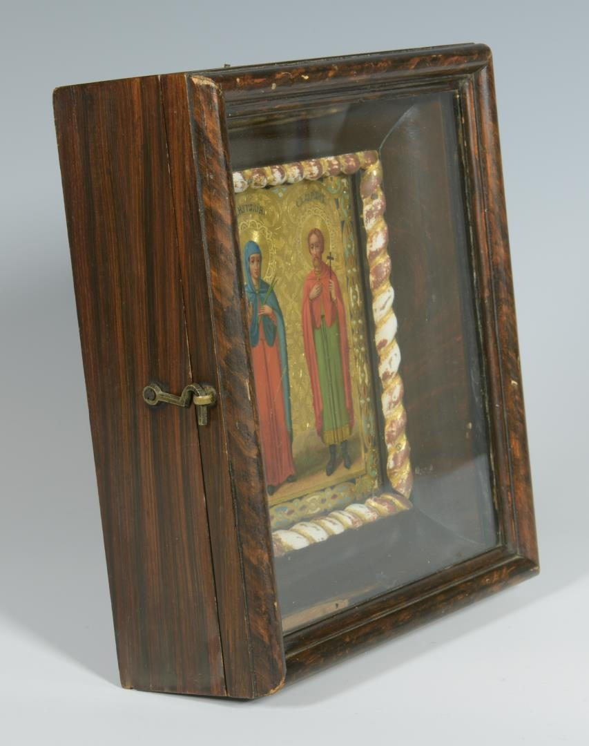 Lot 72: Box Icon with 2 Saints, dated 1898