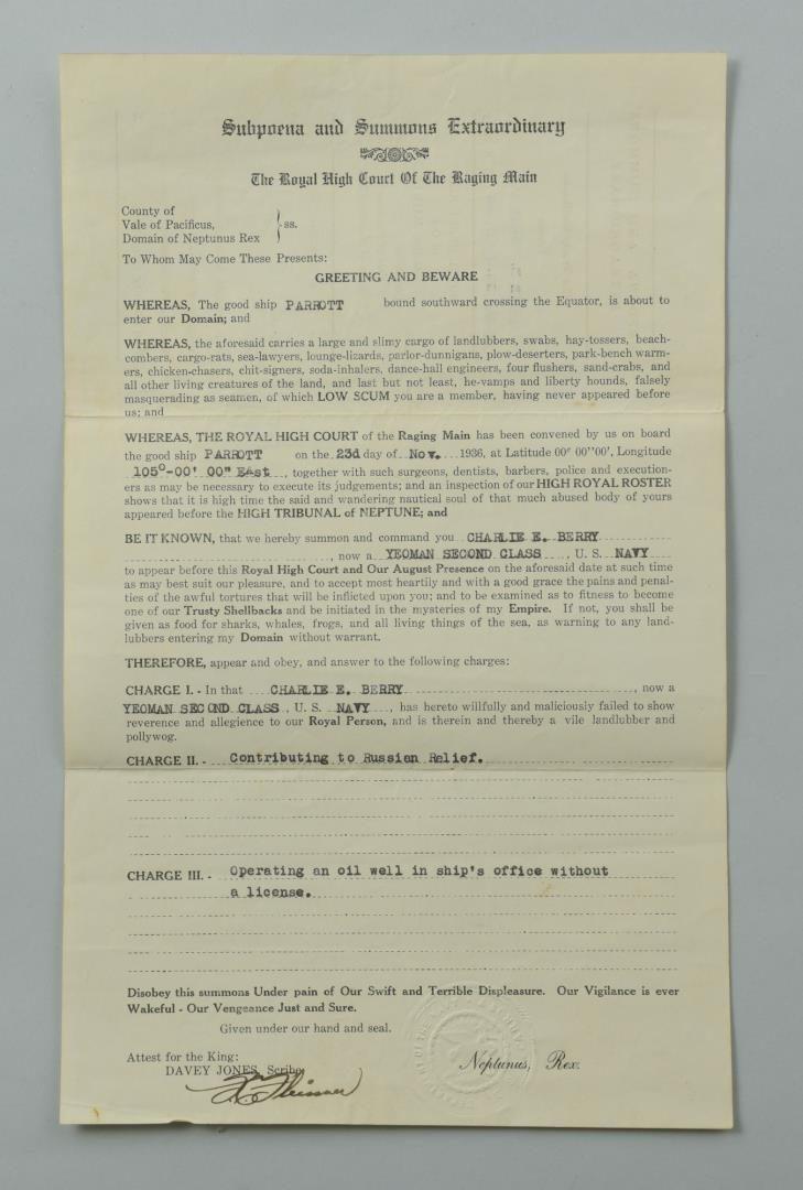 Lot 76: C.E. Barry USS Parrot Archive